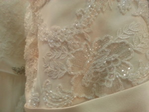close up wedding dress with sparkle