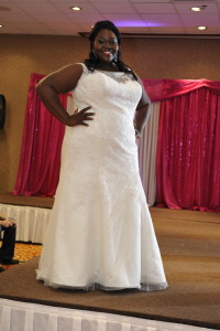 plus size trumpet lace illusion neckline wedding dress