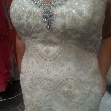 NEW DRESS ALERT: Gold Sequin Plus Size Mermaid Wedding Dress