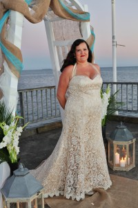 champagne lace trumpet wedding gown