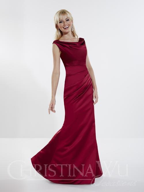 Plus sized cowl neck satin dress