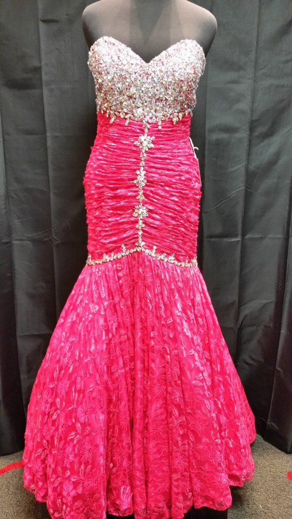 plus size lace fit and flare prom dress
