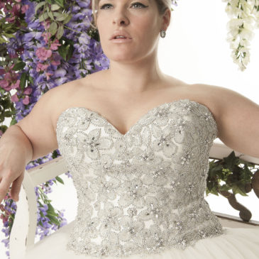 NEW DRESS ALERT: Super Blingy Plus Size Ballgown Wedding Dress