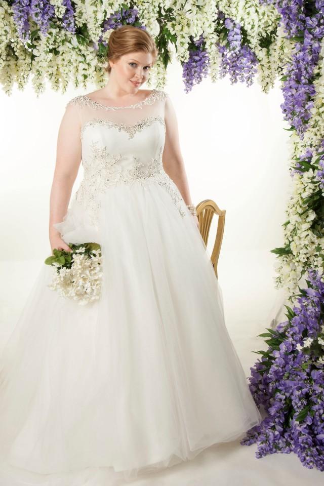 illusion neckline plus size ball gown wedding dress
