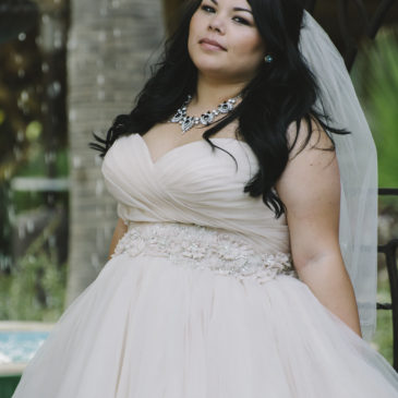 Clarissa in a Champagne Ball Gown Wedding Dress