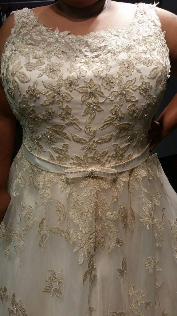 illusion neckline plus size wedding gown