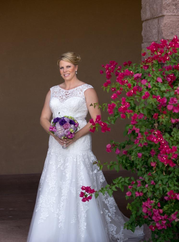 plus size illusion neckline wedding dress