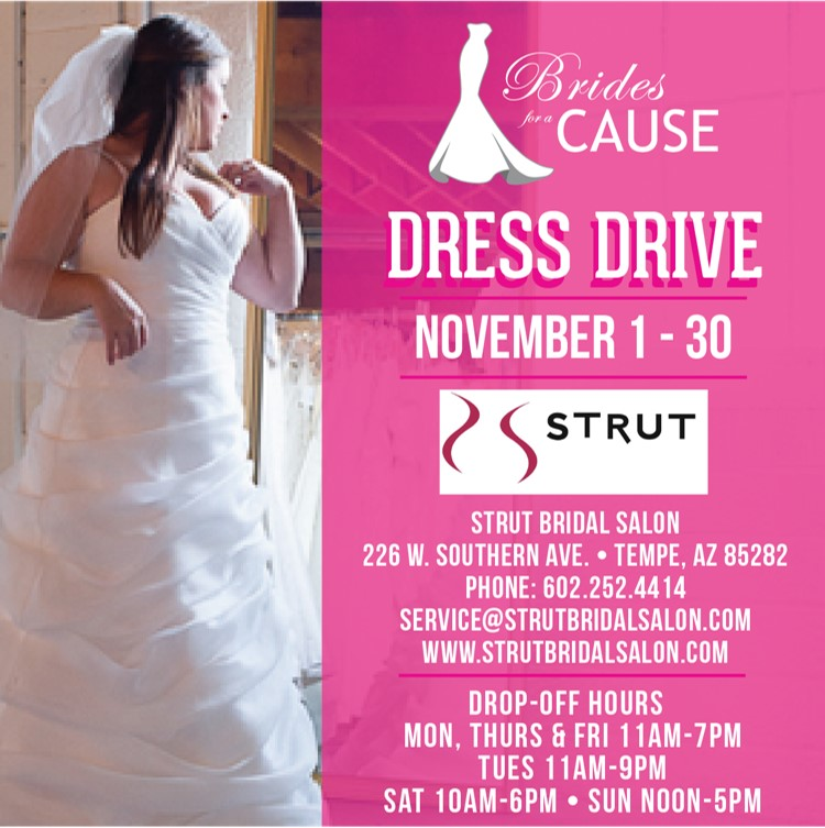 strut wedding dress donation drive