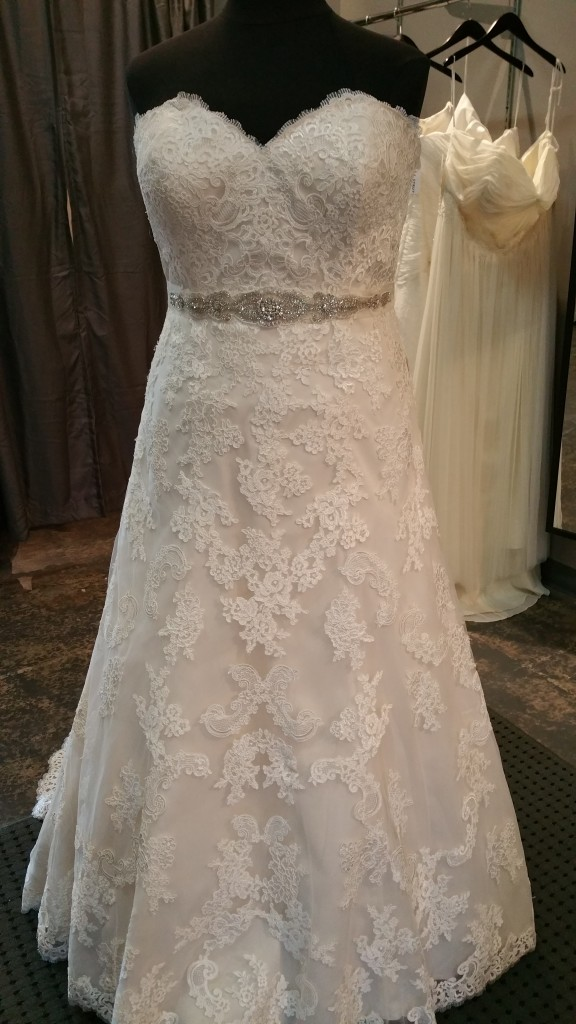 all over lace with sparkle sash