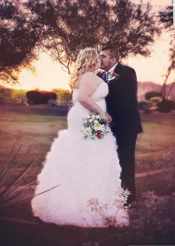 plus size ruffled wedding gown