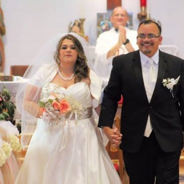 Rosa's Two Tone Satin Aline Wedding Dress