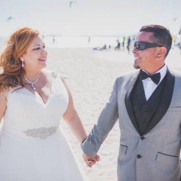 Regina's Beach Wedding in Allure Bridals 9124