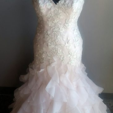 NEW: Pink Wedding Dress with Ruffles