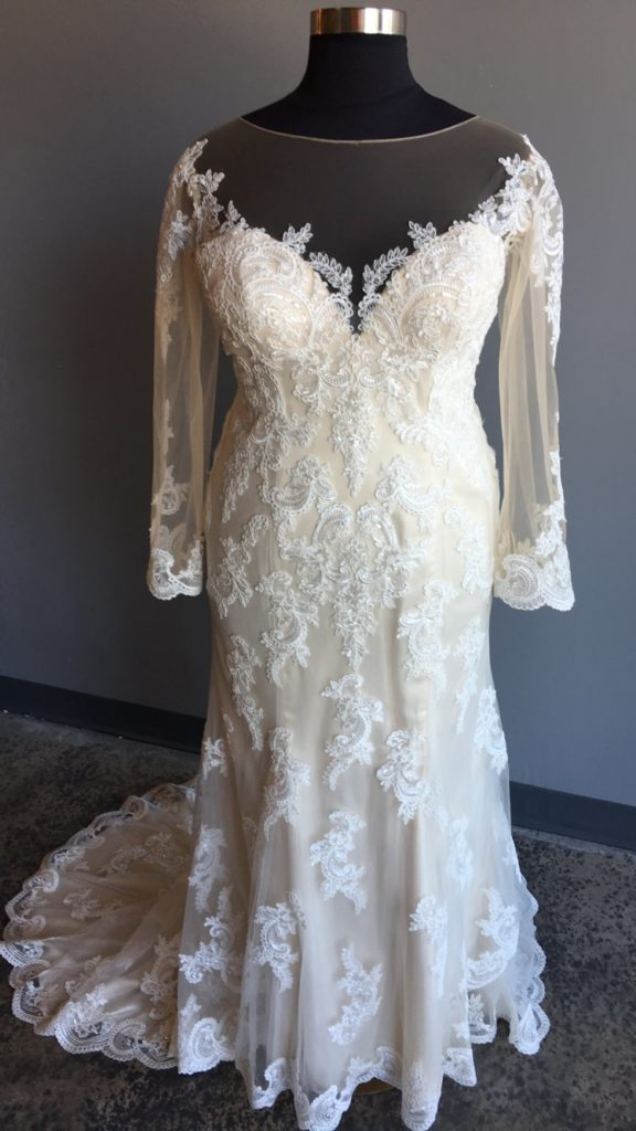 NEW: Plus Size Long Sleeve Lace Wedding Gown - Strut Bridal ...