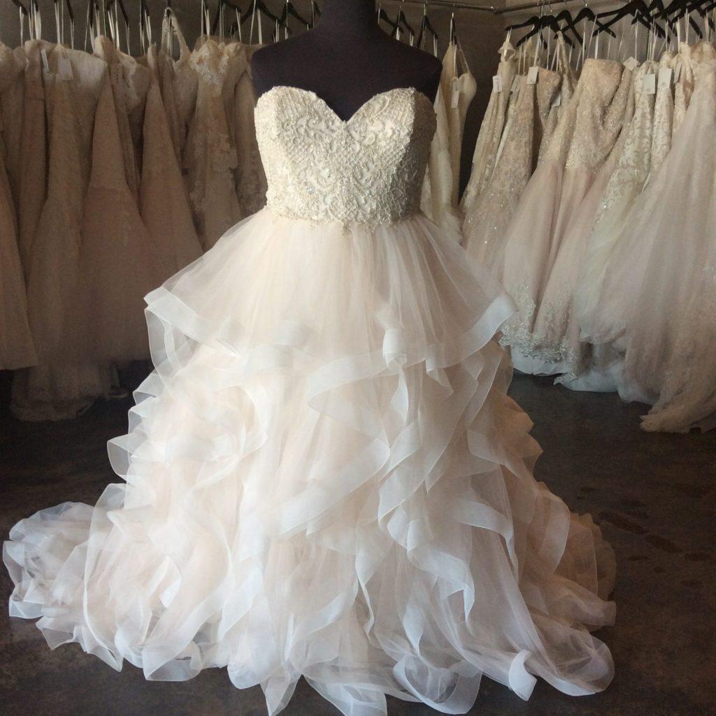 New Champagne Ruffle Wedding Dress Strut Bridal Salon