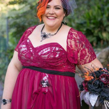 Amanda's Non Traditional Burgundy Wedding Dress