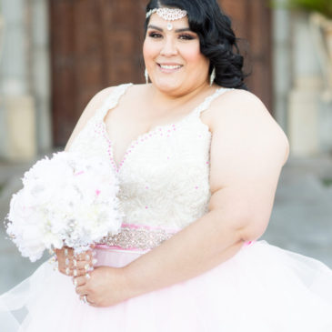 Shay's Custom Pink Ruffle Wedding Dress