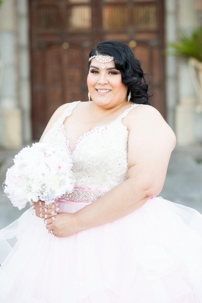 Shay's Custom Pink Ruffle Wedding Dress