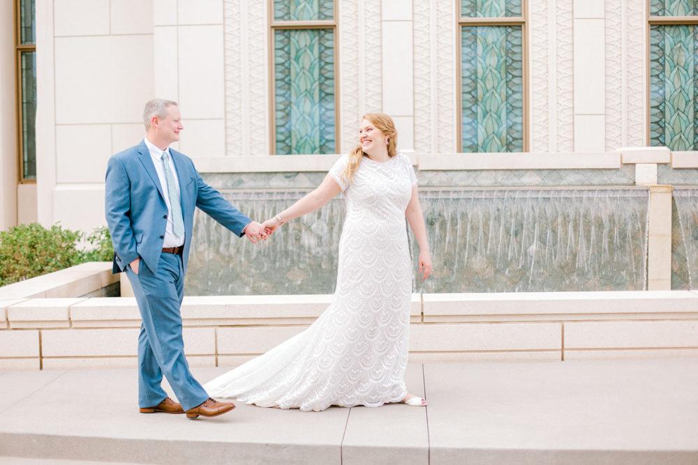 Jina's Modest Textured Lace Wedding Dress