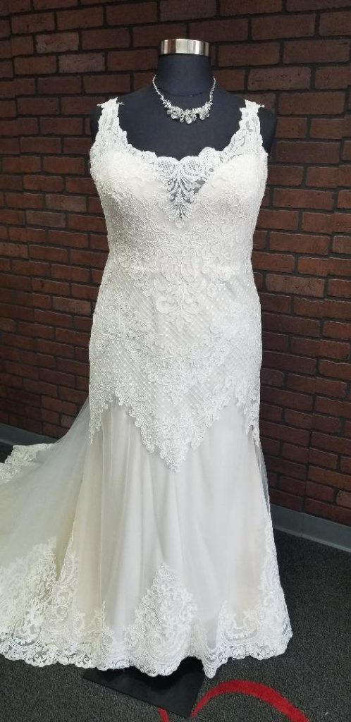 tank strap plus size sheath lace wedding dress Arizona