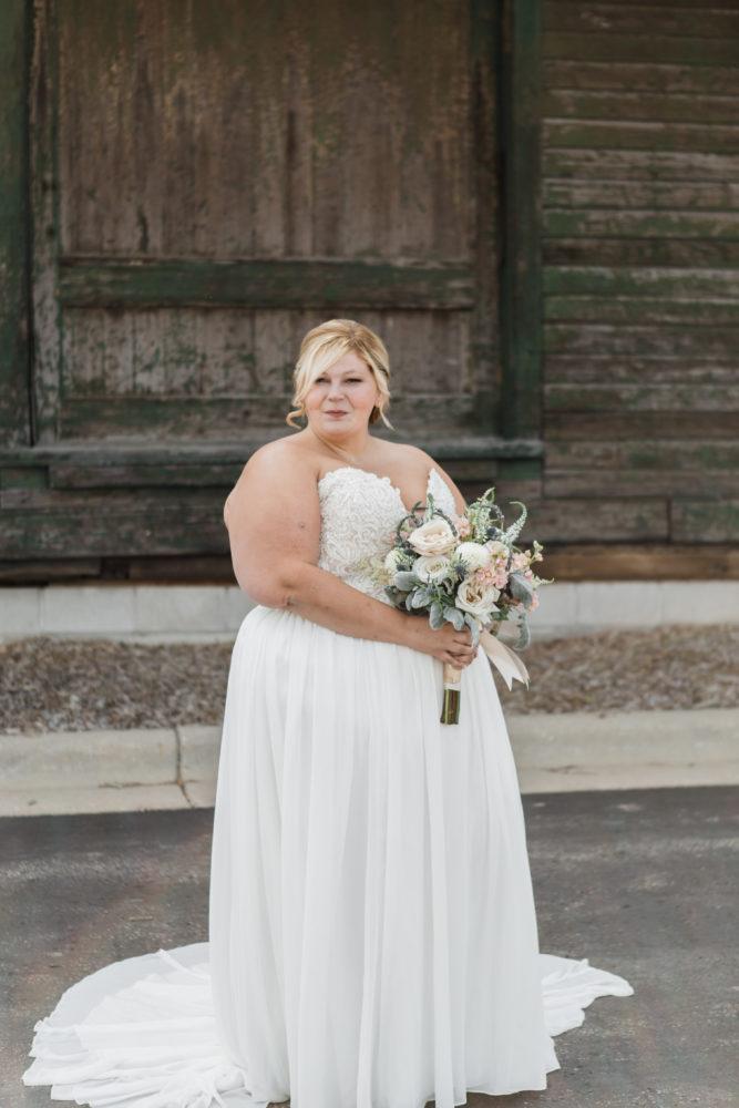 Kathie's Alluring Deep Plunge Front Wedding Gown