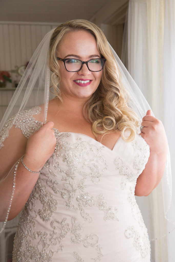 plus size champagne mermaid wedding dress with ruching and beaded lace appliques Los Angeles, CA