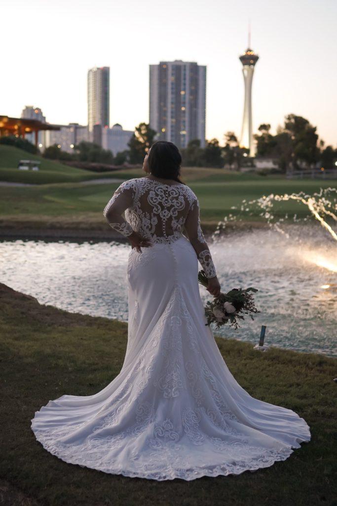 plus size stunning long sleeve lace and crepe wedding dress