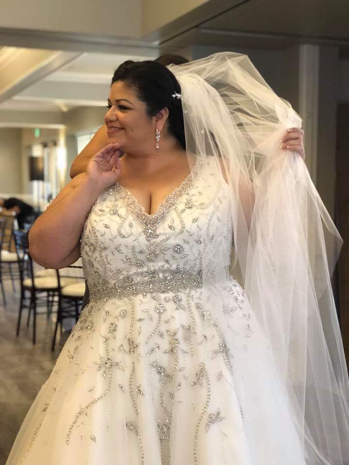 vneck sparkle plus size wedding dress with bling Long Beach, CA