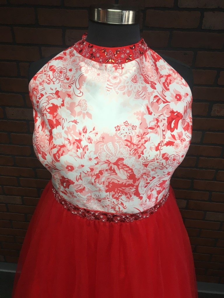 floral and tulle red print plus size prom dress