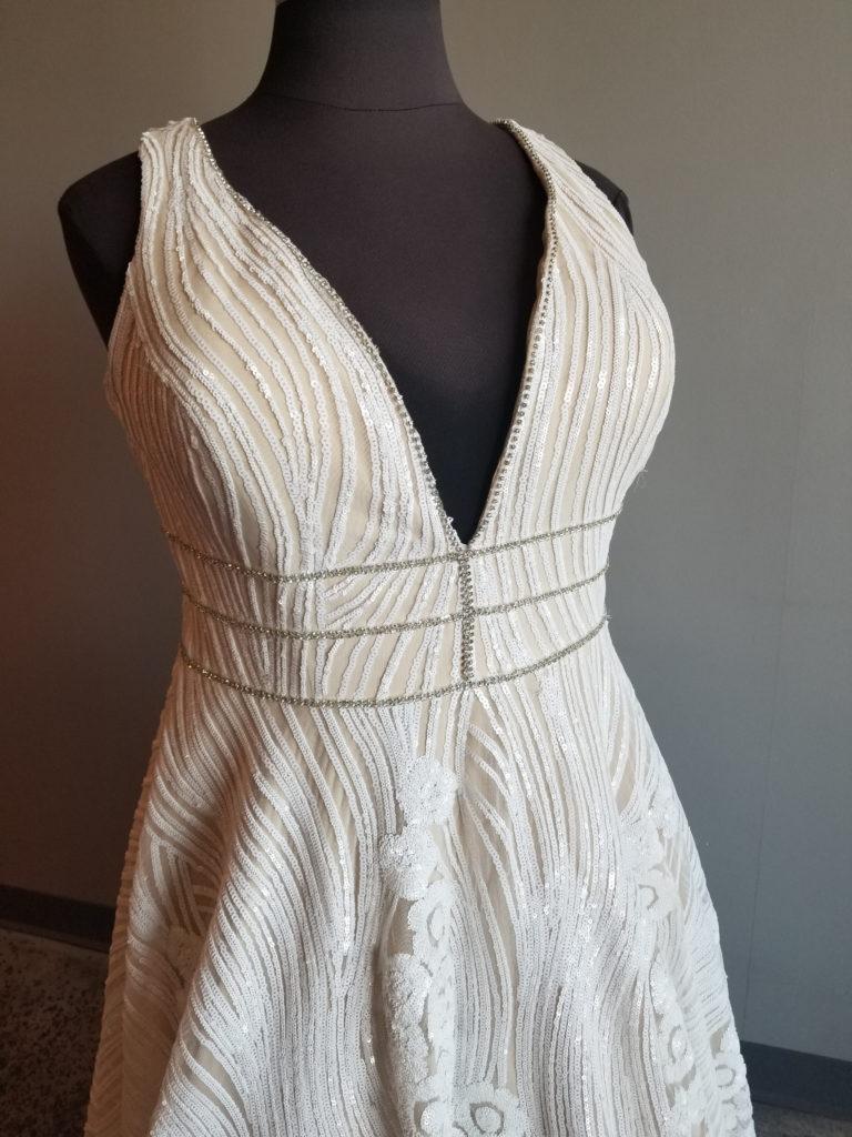 vneck plus size wedding dress with straps