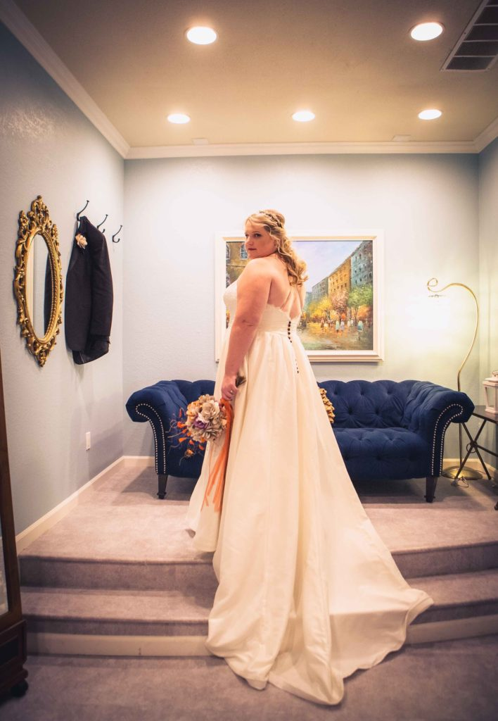 custom plus size wedding dress with purple buttons