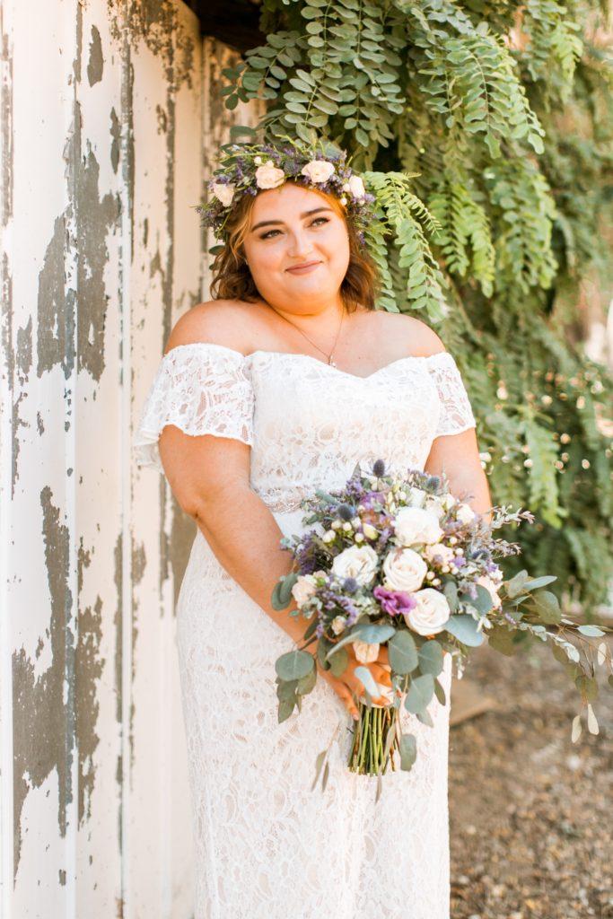 lace off the shoulder plus size wedding dress