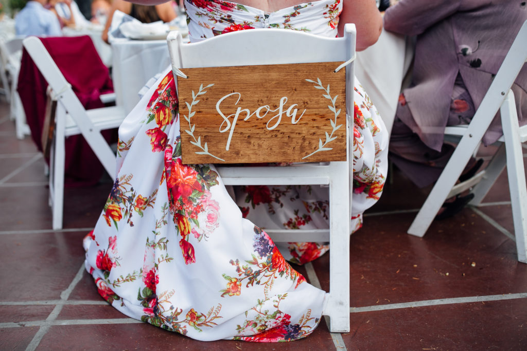 wedding seat with sign