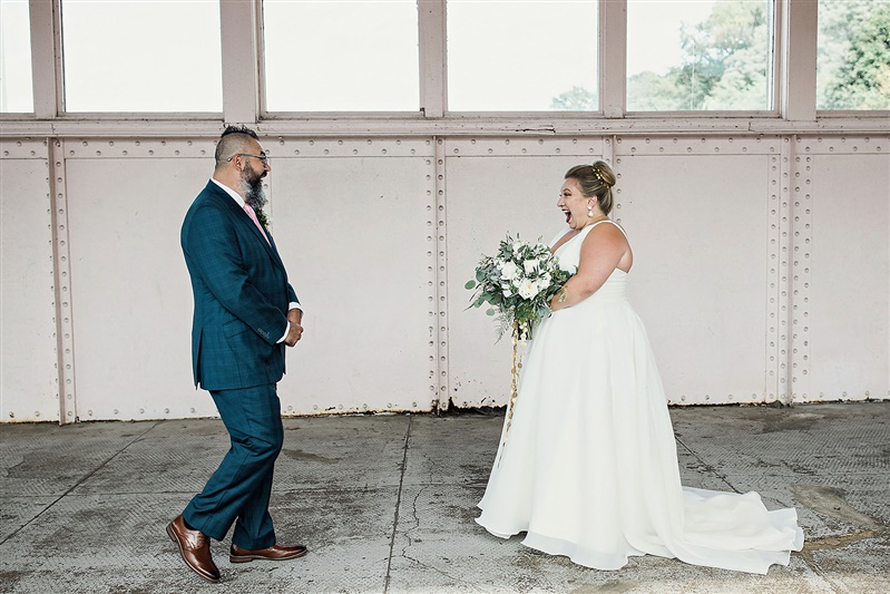 first look plus size bride