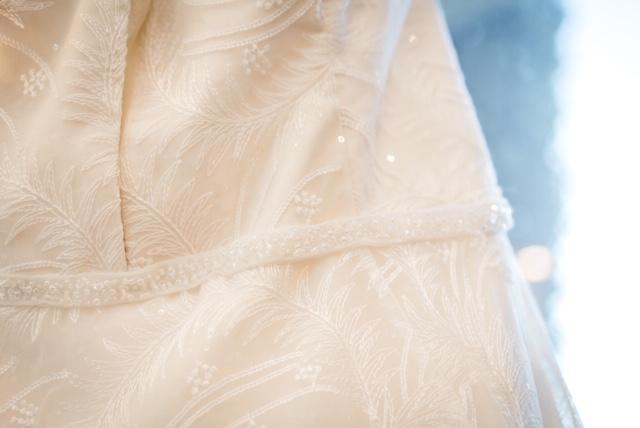 close up detail shot of sequin plus size wedding dress
