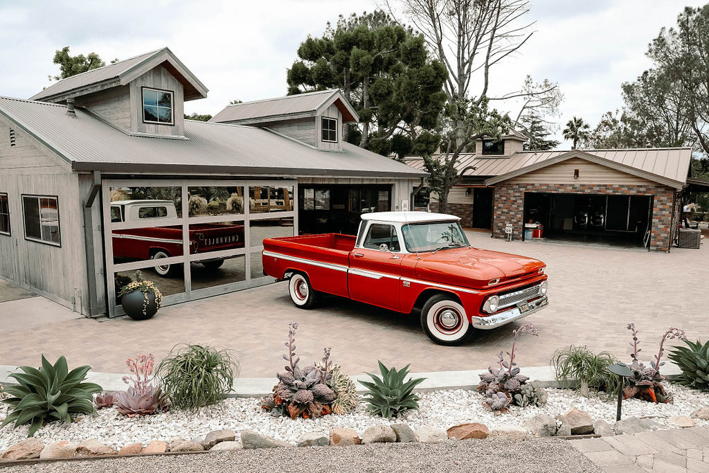 antique truck outside a unique wedding venue in Orange County, California