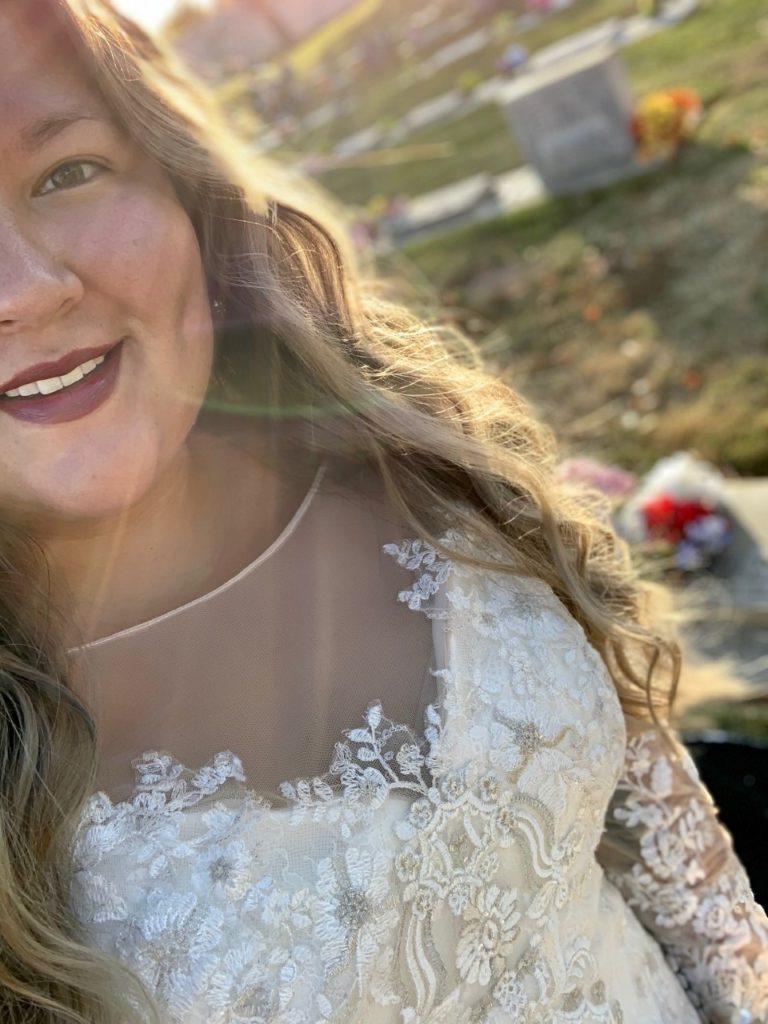 bride selfie at cemetery