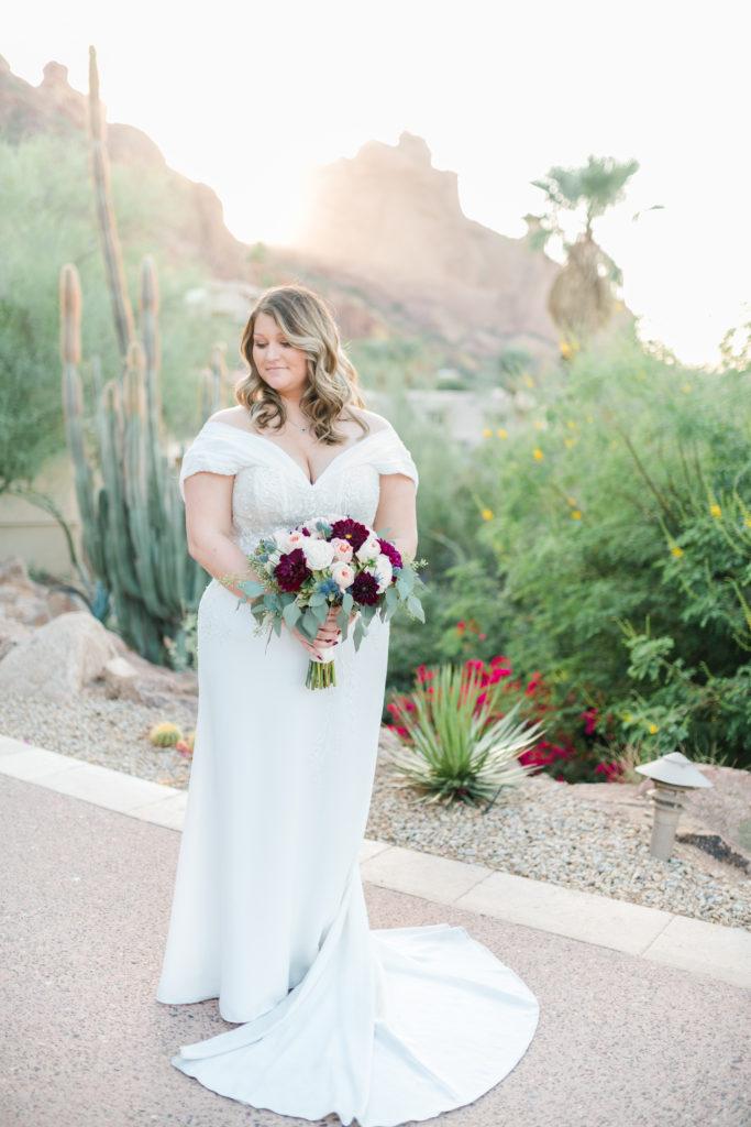 bride-wearing-crepe-sheath-wedding-dress-at-sanctuary-resort-camelback-arizona