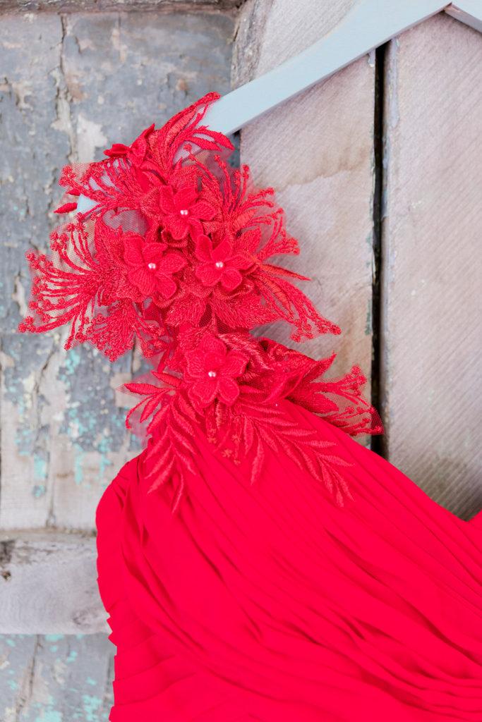 custom red lace cap sleeves