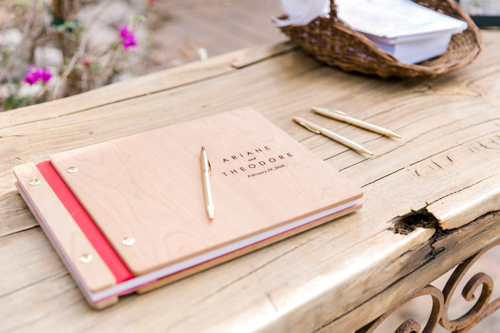 custom wedding guest book on table top