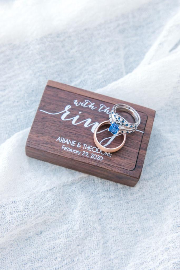 custom wedding ring box with wedding rings