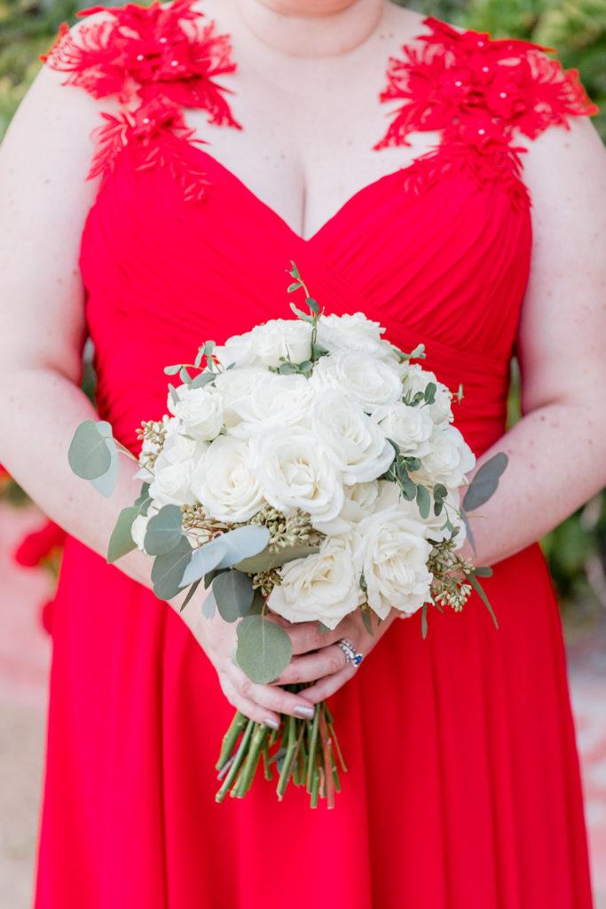 plus size custom red wedding dress with white rose wedding bouquet